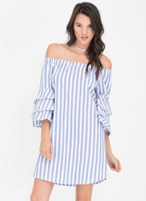 Go Jane—Lucky Stripe Ruffled Off-Shoulder Dress