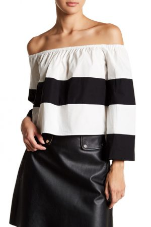 Colorblock Off-the-Shoulder Blouse