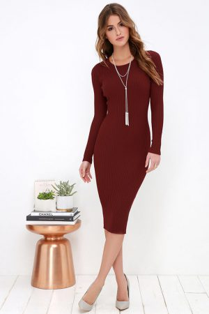 SIMPLY SMITTEN BURGUNDY SWEATER DRESS
