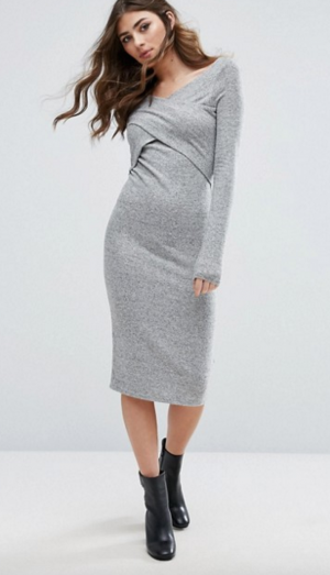 Miss Selfridge Cross Front Knitted Midi Dress