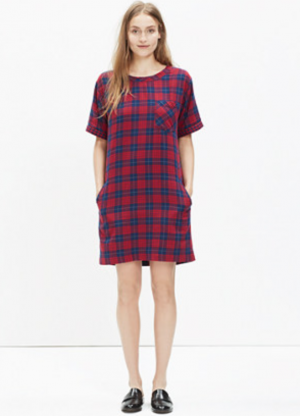 short-sleeve dress in edina plaid