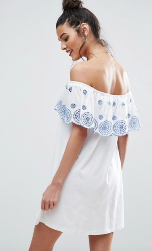 ASOS Off Shoulder Mini Sundress with Broderie Frill