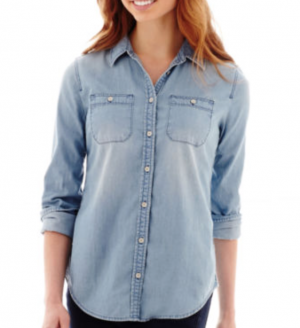Stylus™ Long-Sleeve Boyfriend Denim Shirt