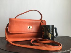 Vintage small Coach crossbody bag | orange leather convertible handbag
