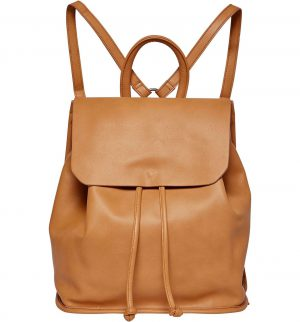 Midnight Faux Leather Flap Backpack