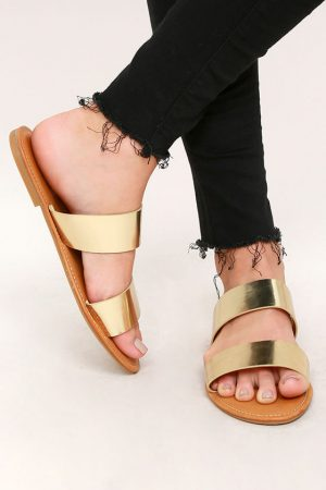SALLY GOLD SLIDE SANDALS