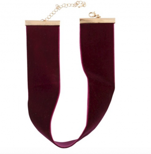 1.5-Inch-Wide Classic Burgundy Velvet Choker Necklace