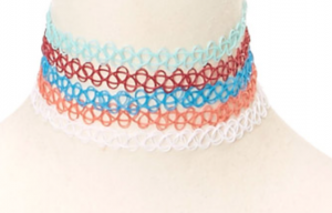 5 Pack Multi Color Tattoo Chokers