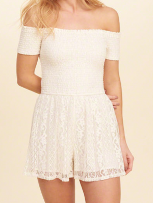 Smocked Off-The-Shoulder Lace Romper