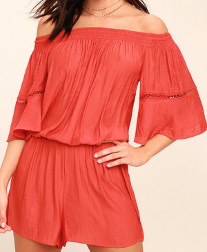 WITH FEELING CORAL RED OFF-THE-SHOULDER ROMPER