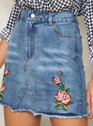 Behind Rose Doors Denim Skirt