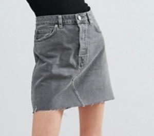 ASOS Denim High Rise Pelmet Skirt in Ruthless Gray Wash with Raw