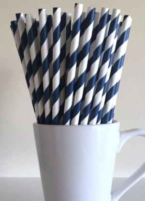 Navy Blue Striped Paper Straws Party Supplies Party Decor Bar Cart Cake Pop Sticks Mason Jar Straws