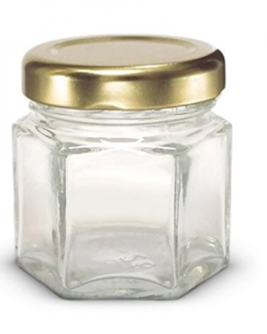 1.5 oz Hexagon Mini Glass Jars with Lids and Labels (Pack of 24) (Gold)