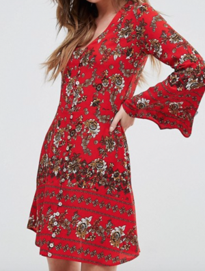 Boohoo Flute Sleeve Floral Print Swing Dress