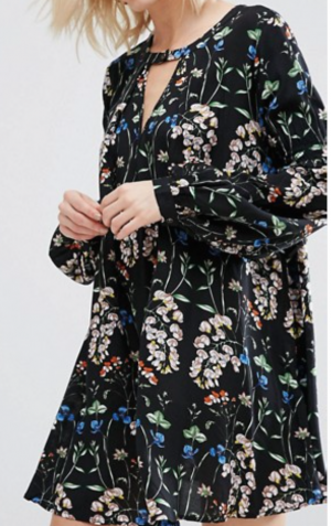 Boohoo Floral Plunge A-Line Swing Dress