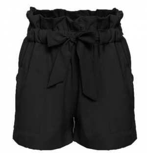 Black, Tan, & White Bow Belt Short Shorts