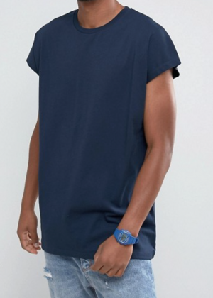 ASOS Longline T-Shirt In Oversized Fit In Navy