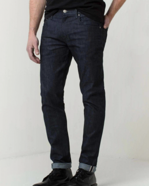 Mens Skinny Slim Raw Jeans In Selvedge Indigo Grey — 95