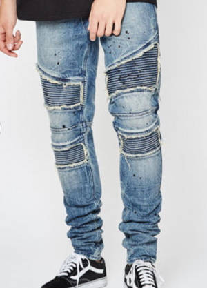 PacSun Stacked Skinny Comfort Stretch Moto Paint Indigo Jeans