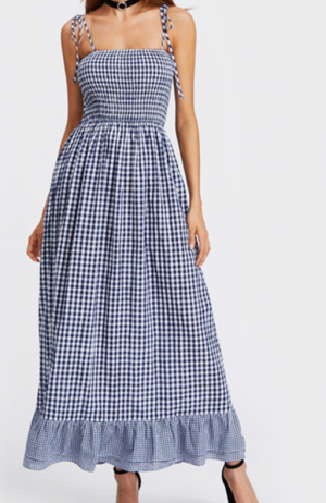 SheIn Sleeveless Self Tie Shoulder Smocked Bodice Tired Hem Gingham Dress Spaghetti Strap A Line Summer Maxi Dress