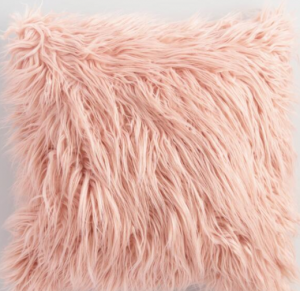 Blush Mongolian Faux Fur Throw Pillow