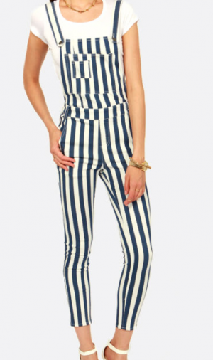 ENGINEER AND DEAR BLUE AND WHITE STRIPED OVERALLS