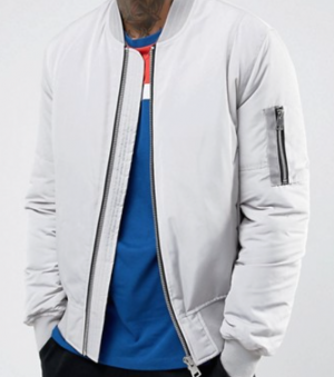 ASOS Bomber Jacket with MA1 Pocket in Light Gray