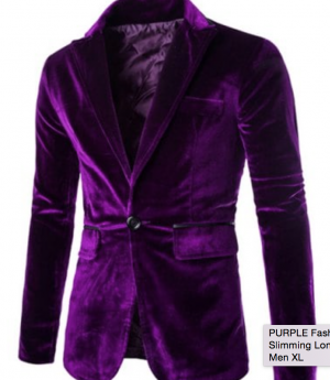 Fashion Lapel Pocket Edging Design Slimming Long Sleeve Corduroy Blazer For Men - Purple - Xl