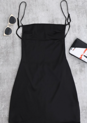 Backless Mini Slip Dress - Black