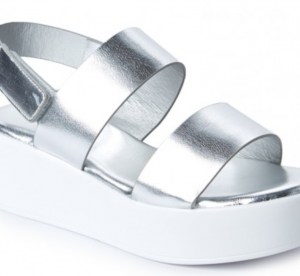 Stepping Out Metallic Silver Platform Sandals