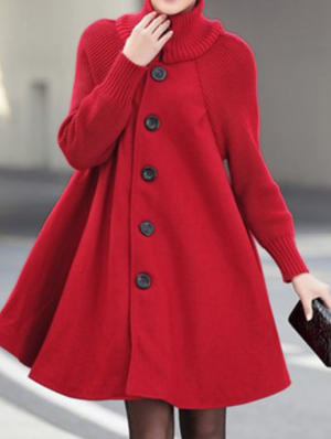 Button Closure Long Sleeve Red Swing Coat