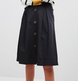 Stradivarius Button Through Midi Skirt