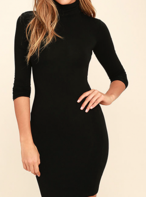 HIGH HOPES BLACK LONG SLEEVE BODYCON DRESS