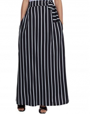Striped Maxi Skirt - Black