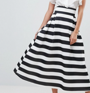 ASOS TALL High Waisted Scuba Midaxi Prom Skirt in Stripe