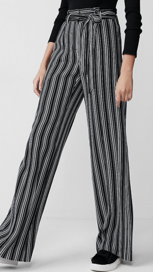 High Waisted Sash Waist Wide Leg Pant
