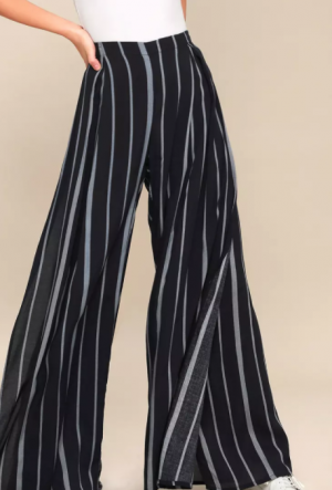 VENTURE CASUAL WASHED BLACK STRIPED WIDE-LEG PANTS